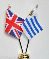 United Kingdom UK & Uruguay Double Friendship Table Flag Set
