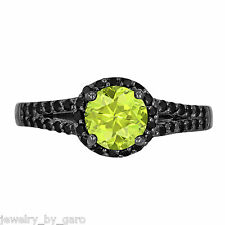 PERIDOT & ENHANCED BLACK DIAMOND COCKTAIL RING 1.40 CARAT 14K BLACK GOLD UNIQUE