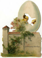 Vintage Victorian die cut paper scrap, Easter egg & chicken & town wall, 1896