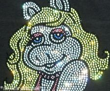 """6.5"""" Muppets MISS PIGGY iron-on rhinestone transfer DIY applique patch decal"""