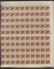 ITALY 1945 HAMMER 10c MINT SHEET...200 stamps