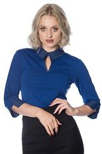 Blue Vintage 50's Rockabilly Blouse Retro Secretary Collar Top By Banned Apparel