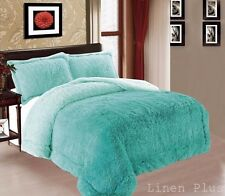 3 Piece Fur Long Pile Light Turquoise Plush Soft Sherpa Blanket King Size 8Ib