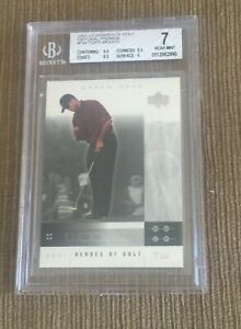 2001 UD Heroes of Golf National Convention Promos Tiger Woods RC BGS 7.0 SUB 9.5