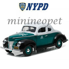 GREENLIGHT 12972 1940 FORD DELUXE COUPE NEW YORK POLICE CAR NYPD 1/18 TURQUOISE