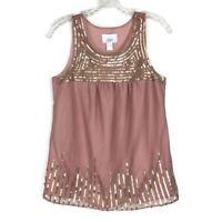 Ann Taylor LOFT Mauve Gold Sequin Tank Top Blouse Womens XS Sleeveless