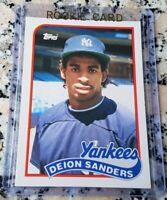 DEION SANDERS 1989 Topps Traded #1 Draft Pick Rookie Card RC Yankees $$ HOF $$