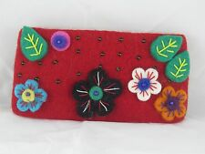 Multicolor Flower Beaded  Felt Handmade Purse Nepal - FREE SHIPPING!