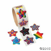 Roll of 100 Funky Star Shaped Stickers Birthday Party Favors