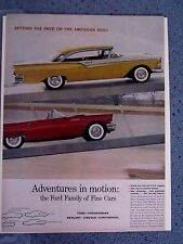 FORD FAMILY OF FINE CARS - VINTAGE AMERICANA  NEWSPAPER  AD.