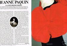 Coupure de Presse Clipping 1989 (4 pages) Jeanne Paquin,couturière oubliée