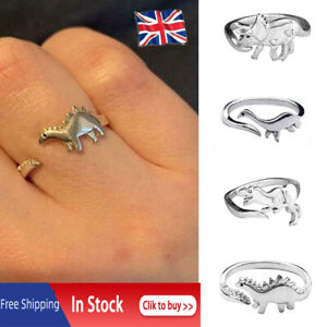 Dinosaur Silver Band Ring Adjustable Love Gift Dainty Women Men Jewelry