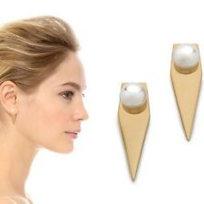 Triangle Gold plated pearl earring