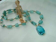 Vintage Egyptian Revival Scarab Pendant Necklace Carved Glazed Turquoise