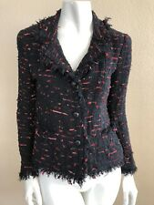 CHANEL 04P BLACK RED RIBBON TWEED FRINGED JACKET BLAZER 36