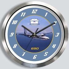 AERO COMMANDER 690 METAL WALL CLOCK twin 680