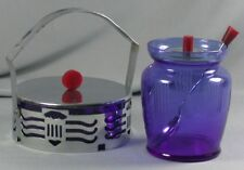 Vtg Cobalt Blue Glass & Chrome Condiment Set  Red Art Deco Mustard Jar Japan