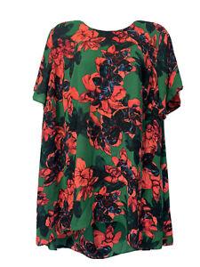 vince camuto bright floral short sleeve blouse plus size 1X