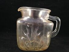 VINTAGE CLEAR GLASS DEPRESSION ERA GLASS WATER PITCHER WITH BURST ON SIDES