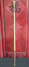 "35""Old Chinese Hand-carving Bronze Skull Head Statue Crutch Walking stick Cane"