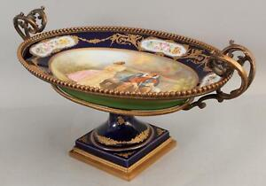 Large Antique Hand Painted French Sevres Porcelain & Bronze Centerpiece