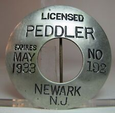 Original 1930s Licensed Peddler Badge Pinback Newark NJ New Jersey No 192 metal