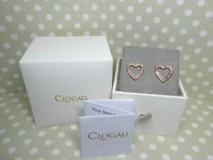 Clogau Gold, 9ct Rose Gold One Heart Pink Sapphire Earrings RRP £440