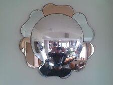 Fabulous ORIGINALE convesso anni 1930 Peach PETALO ART DECO VINTAGE Pannello Specchio