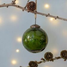 Green Glass Round Crackle Bauble 7cm, Rustic Vintage Hanging Xmas Decoration