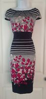 Womens Per Una M&S Dress size 12 blue white stripe pink floral pencil party