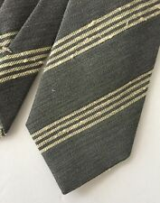 GANT Rugger Shantung Striped Tie Grey Silk Wool Blend Lined Handmade in Italy