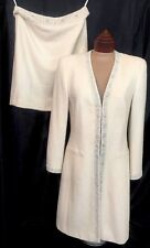 Escada Evening Suit Winter White Beaded Long Jacket And Skirt Size 8