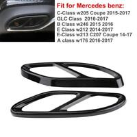 Black Exhaust Pipe Cover Trim for Mercedes Benz GLC C E Class W205 C207 Coupe