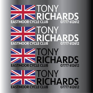 Personalised High Quality Cycle/Golf Club Decal Labels 40x10mm