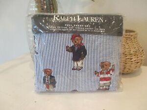 Ralph Lauren VINTAGE Polo Teddy Bear Blue Striped FULL SHEET SET  NEW in Package