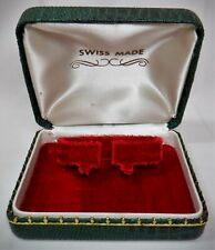 New listing Vtg Swiss Made Watch Presentation Box Green Faux Reptile Skin Mcm Retro *Nice 1