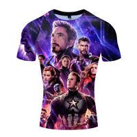 Men Marvel Avengers 4 Endgame Long Short Sleeve T-Shirt 3D Print Tee Blouse Tops