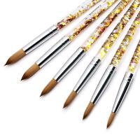Kolinsky Acrylic Nail Brush Art Gold Sequin Shiny Handle Sizes #6-#16