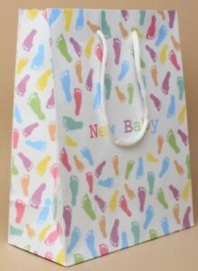 NEW New Baby Pastel coloured footprint gift bag 23x18x9cm shower luxury
