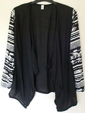 Women's black Waterfall cardigan with aztec sleeve design size XL or L