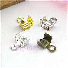 100Pcs End Cap Crimp Bead For Leather Cord 4mm Silver,Gold,Bronze R5033