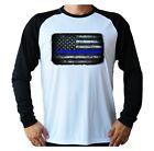 Blue Lives American Flag Sun UV Protected UPF 50 Men's Long Sleeve Boat T-Shirt