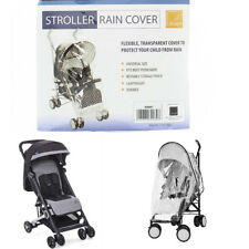 Universal Transparent Pushchair Stroller Rain Cover with Black Trim Heavy Duty