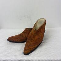 J Jill Womens Mule Shoes Brown Floral Stacked Block Heels Leather Slip Ons 7.5 M