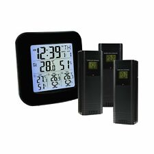 Wireless Weather Station Thermometer with 3 Indoor Outdoor Sensor Wireless Cl.