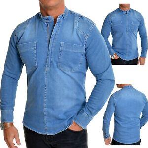 Men Heavy Duty Denim Jean Shirt Superb Quality Zipper Grandad Collar Acid Wash