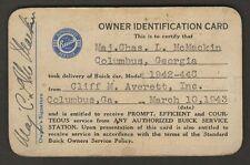 Buick Owner Identification Card 1943 Major Charles L McMackin Columbus Ga