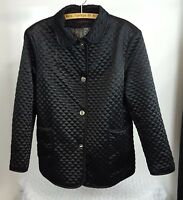 Anne Klein Womens Jacket Black Satin Quilted Turn Lock Button Coat XL Defect