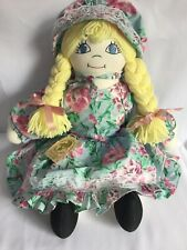 24� tall Handcrafted Cloth Doll, Bonnie Braids 1990's by Maria Wilcox