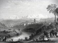 GRAVURE ANCIENNE 19e - BERNE - ALPES DE OBERLAND - SUISSE